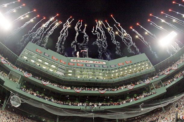 Fireworks light up Fenway Park at the start of Sunday's game between the Red Sox and Yankees.