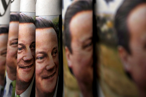 British opposition Conservative Party Leader David Cameron's photo is featured on the front covers of newspapers in London.
