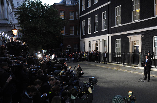David Cameron, Britain's incoming Prime Minister, speaks in front of 10 Downing Street in London.