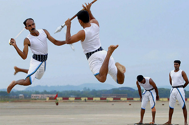 Indian Army personnel perform martial art skills, during celebrations to mark 100 years of the Signal Corps, a branch of the Indian army responsible for military communications.