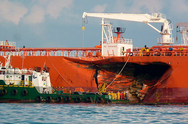 2,500 tons of oil spilled into the waters between Malaysia and Singapore when the Malaysian MT Bunga Kelana collided with a bulk carrier in Asia's busiest shipping lane.