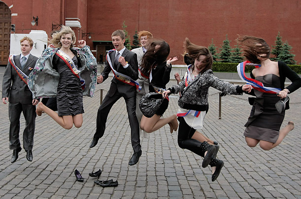 Graduates jump in Red Square in celebration of the last day of classes in Moscow.