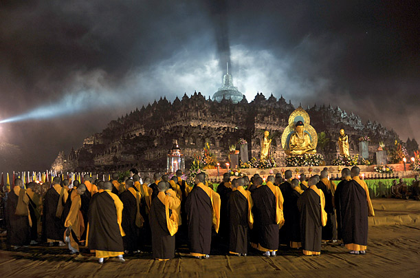 Buddhist monks gather for the commemoration of Vesak, or Buddha's birthday, at Borobudur temple in Magelang, Central Java, Indonesia.