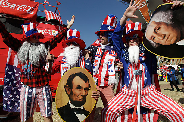 With the help of United States fans, George Washington and Abraham Lincoln make an appearance at Ellis Park Stadium in Johannesburg prior to the World Cup match between the USA and Slovenia.