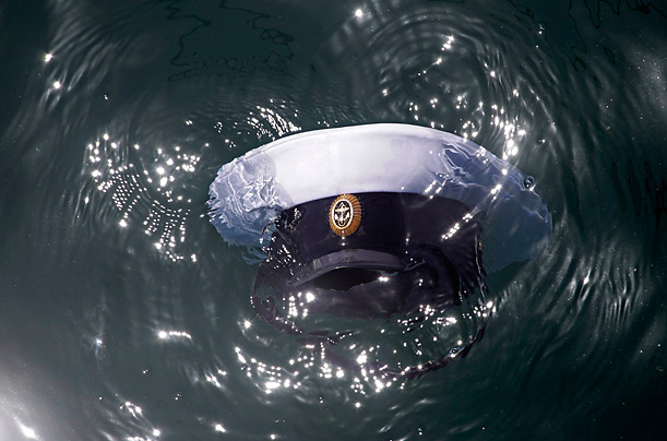 A sailor's cap floats in the Ukranian Black Sea Port.  The Russian Navy has been rehearsing for the popular 