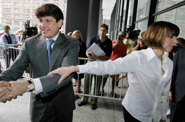 Former Illinois Gov. Rod Blagojevich, and his wife Patti, right, arrive at the Federal Court for his corruption trial in Chicago, Illinois.