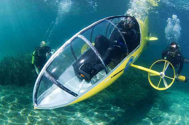 Stephane Rousson, chief designer of the Scubster submarine, a pedal-powered personal wet sub, tests the craft in Villefranche sur Mer, France.