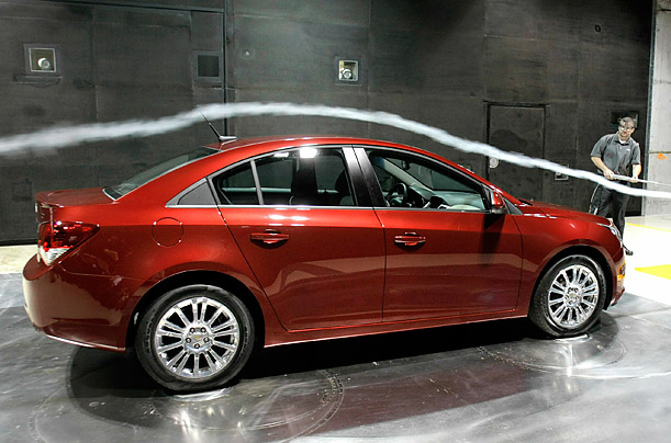 A Chevrolet 2011 Cruze ECO is is tested at the General Motors Aerodynamics Laboratory in Warren, Michigan, the world's largest automotive wind tunnel.