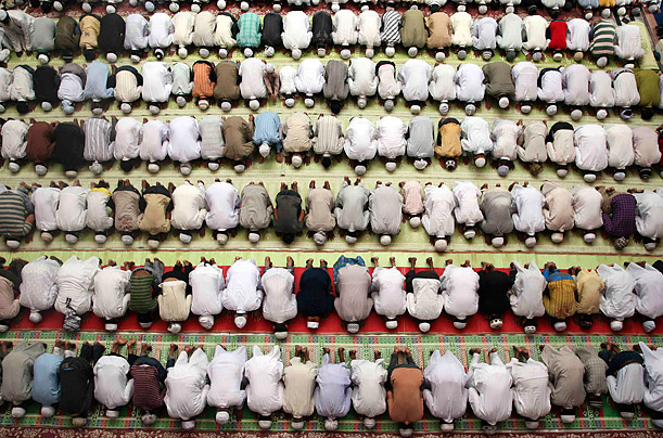 Muslims perform Friday prayers during the holy month of Ramadan at a mosque in Allahabad, India.