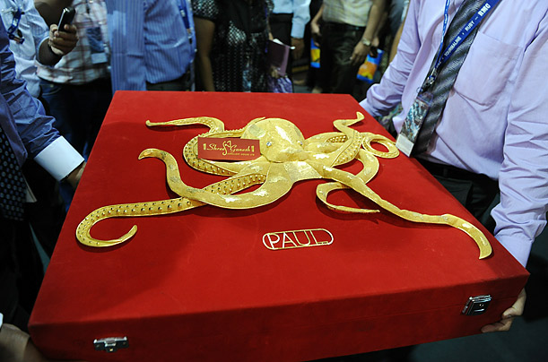 A gold sculpture of Paul, the octopus that became a media sensation for predicting the outcomes during the FIFA World Cup 2010, is on display at the International Jewelery Show in Mumbai.