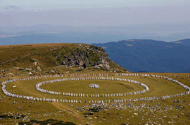 Members of the religious movement, the White Brotherhood, gather to perform a ritual dance known as Paneurhythmy in Rila Mountain. The religion stresses the importance of brotherly love, good health, and living in harmony with nature.