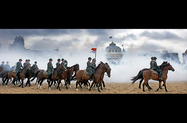 Dutch soldiers practice on horses ahead of the