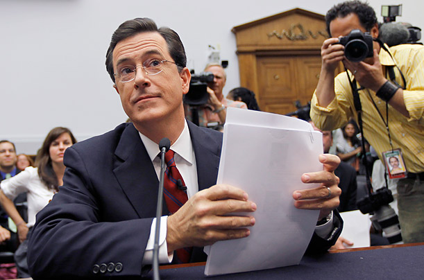 Comedian Stephen Colbert testifies before the House Immigration, Citizenship, Refugees, Border Security and International Law subcommittee hearing on Protecting America's Harvest.