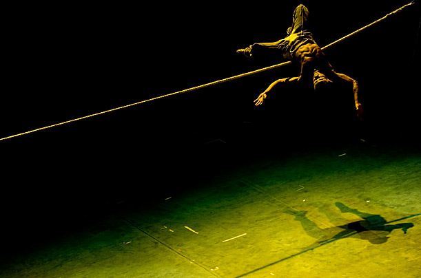 Acrobat Jose Henry Caycedo Casierra from Colombia performs 'Golden Kiss Rope Balance' at the 9th China Wuhan International Acrobatics Art Festival in Wuhan, China.