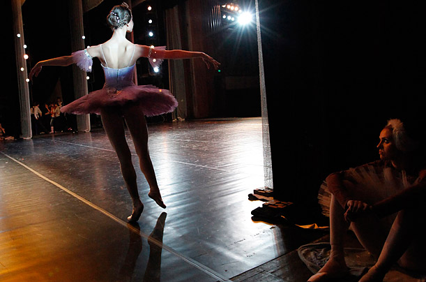 Contestants take part in a professional all-Russian ballet contest, part of the first