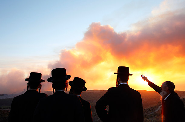 Ultra-Orthodox Jewish men look at a forest fire that broke out near kibbutz Beit Oren in north Israel. The fire claimed the lives of at least 40 people.