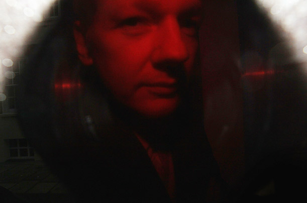 Wikileaks founder Julian Assange arrives at the City of Westminster Magistrates Court in a Serco van in London.