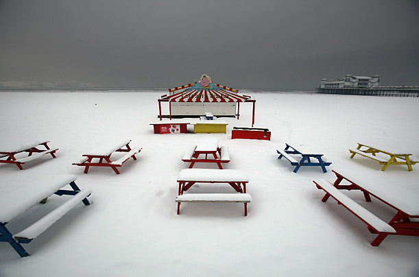 Freshly fallen snow covers the beach in Weston-Super-Mare, England. Heavy snow is bringing further disruption to many parts of the UK.