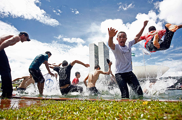 Students protest in Brasilia, Brazil, calling for more funding for education from the government.