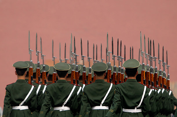 Paramilitary policemen train in Tiananmen Square,  in the Forbidden City in Beijing.