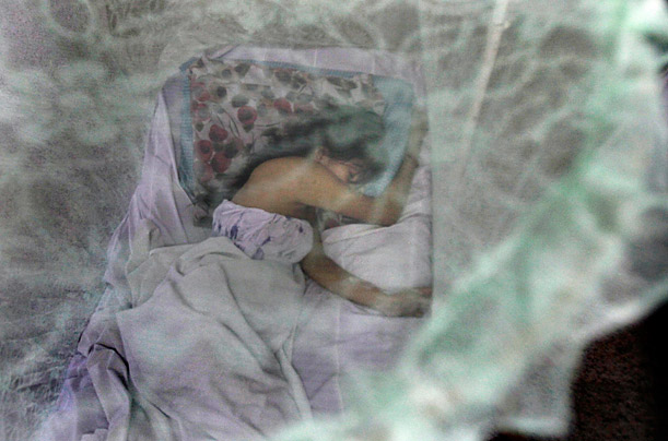 A pregnant woman suffering dengue symptoms lies in a bed surrounded by a mosquito net at Barrio Obrero public hospital in Asuncion, Paraguay.