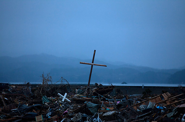 A wooden cross in posttsunami Japan
