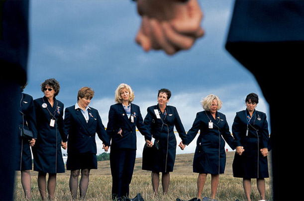 On the anniversary of the September 11 attacks, United Airlines flight attendants held a vigil at the site of the airline's Flight 93 crash outside Somerset, Pennsylvania