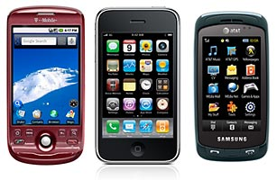 T-Mobile's MyTouch, Apple's iPhone and the Samsung Impression