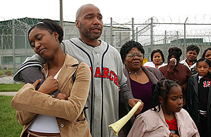Terry Harrington stands with family and friends outside the Clarinda Correctional Facility after Iowa Governor Tom Vilsack signed a reprieve for Harrington on April 17, 2003