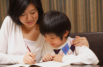 Asian mom with son