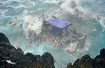 Christmas Island Australia.Bound For Australia Asylum Seekers Boat Wrecks Off
