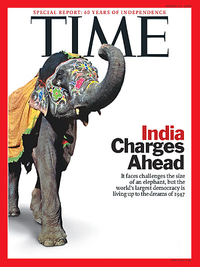 Time Magazine Cover India Charges Ahead Aug 13 2007
