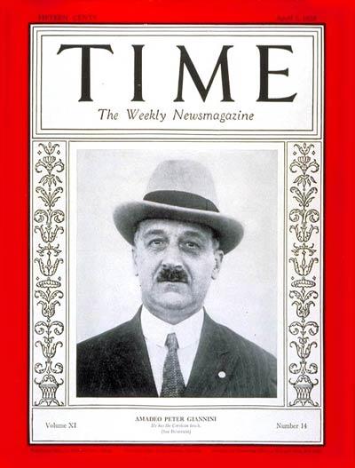 TIME Magazine Cover: Amadeo Peter Giannini - Apr  2, 1928