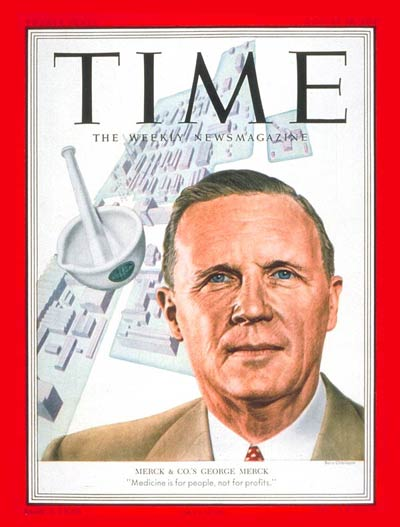 Time Magazine Cover George W Merck Aug 18 1952
