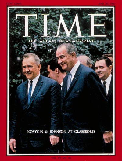TIME Magazine Cover: Aleksei Kosygin, Lyndon B. Johnson -- June 30, 1967