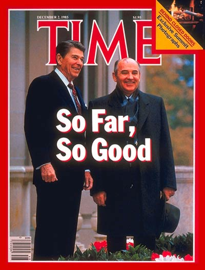 TIME Magazine Cover: Ronald Reagan and Mikhail Gorbachev - Dec. 2, 1985 -  Ronald Reagan - Mikhail Gorbachev - U.S. Presidents - Cold War - Russia -  Politics