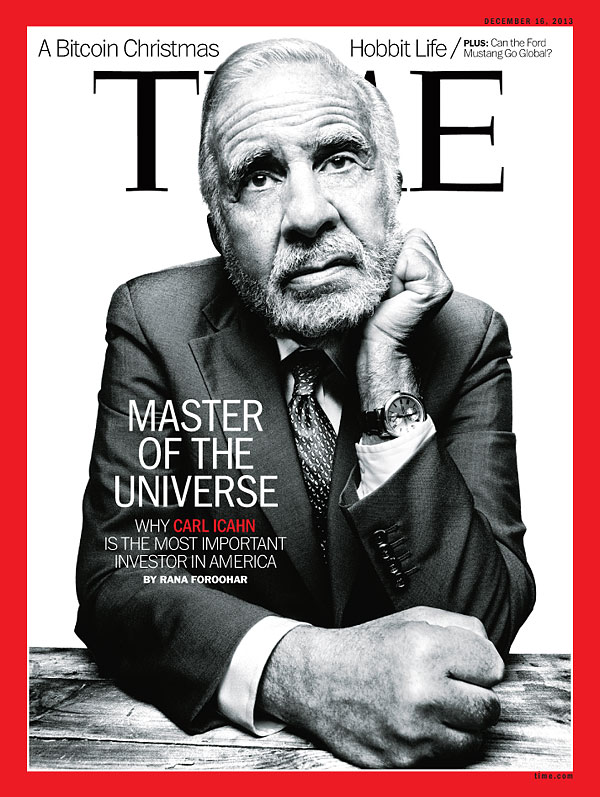 Black and white portrait of carl icahn