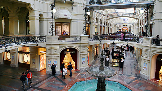 GUM - the Government Universal Store - the building now houses an upscale mall which runs along one edge of Red Square., Bolshoi theatre, diamond fund, Domodedevo airport, GUM, Kitai-gorod, Moscow, Russia, The Enchantress, Zhivago, Four Season Hotel Moscow