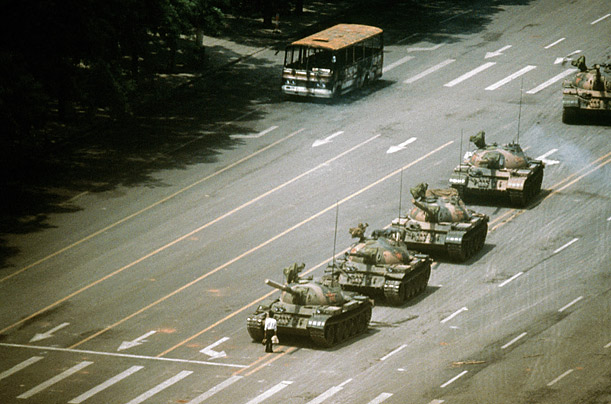 Unknown Chinese protester before tanks at Tiananmen Square