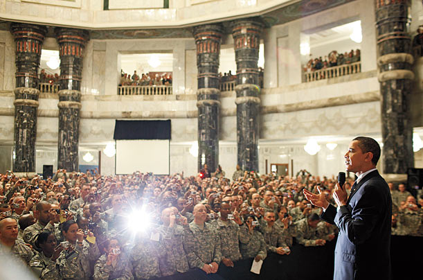 The Presidents greets U.S. military personnel at Baghdad's Camp Victory.