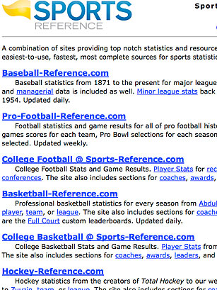 Sports-Reference - 50 Best Websites 2010 - TIME