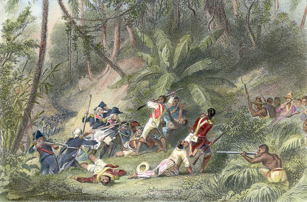 Hand-Colored Engraving of Francois Dominique Toussaint L'Ouverture Revolting Against the French in St. Dominique