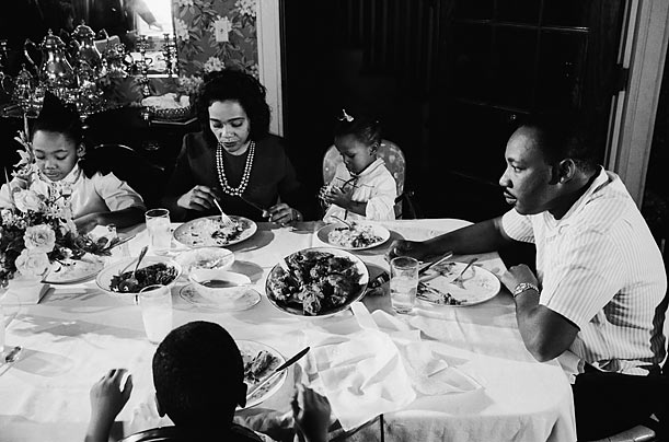 Family Time  King and Coretta sit at their dining room table with their daughters Yolanda and Bernice. They also had two sons, Martin Luther King III and Dexter.