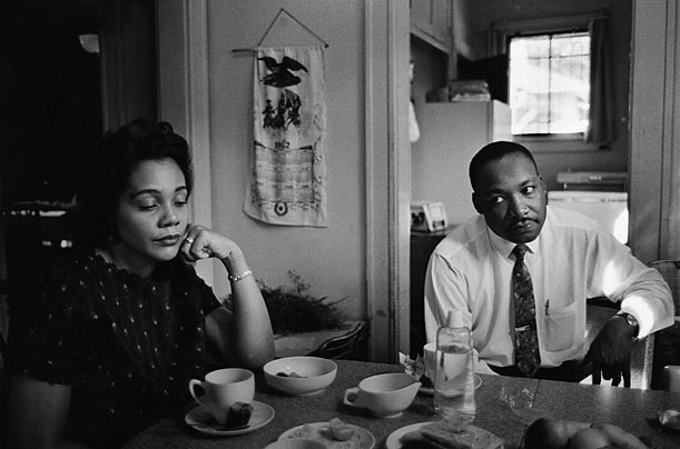 Tense Moment    In this photograph, Coretta is upset with her husband, who had been attacked the night before by a disturbed white racist but had not defended himself. Though the police urged King to press charges, he refused.