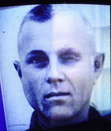 Old and new photographs being shown on video to identify alleged Nazi war criminal John Demjanjuk